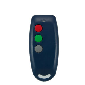 QTron 403mhz blue and grey 3 button remote transmitter