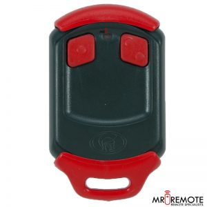 Red Centurion classic 2 button remote transmitter front